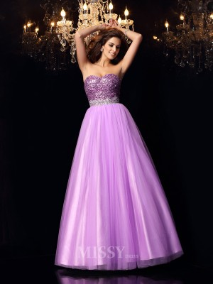 Ball Gown Sweetheart Elastic Woven Satin Floor-Length Dress With Applique