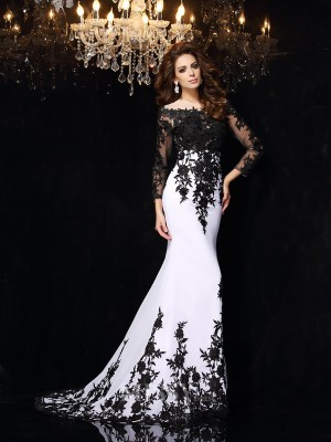 Sheath/Column Long Sleeves Scoop Lace Chiffon Sweep/Brush Train Dress With Rhinestone