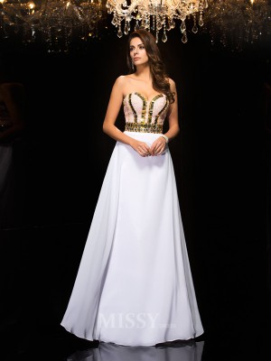 A-Line/Princess Sweetheart Sequin Chiffon Floor-Length Dress With Pleats