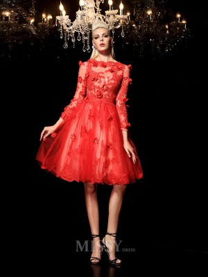 A-Line/Princess Sheer Neck 3/4 Sleeves Mini Net Cocktail Dress With Beading Applique
