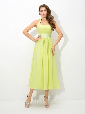 A-Line/Princess Halter Ankle-Length Chiffon Bridesmaid Dress With Beading Pleats