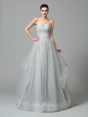 A-Line/Princess Sweetheart Sweep/Brush Train Net Dress With Beading Layers