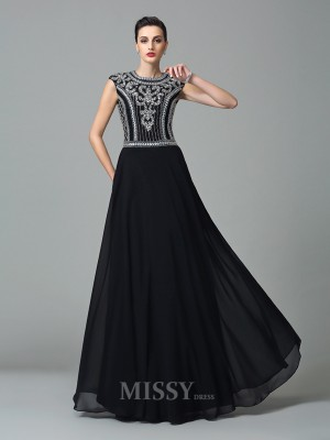 A-Line/Princess Jewel Short Sleeves Floor-Length Chiffon Dress With Beading