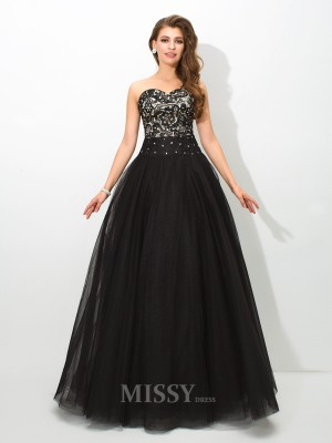 Ball Gown Sweetheart Lace Floor-Length Net Dress With Ruched