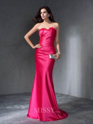 Trumpet/Mermaid Sweetheart Sweep/Brush Train Satin Dress With Ruched