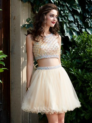 A-Line/Princess Scoop Net Sleeveless Short Two Piece Dress With Beading