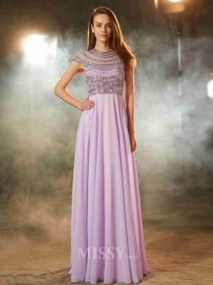 A-Line/Princess Scoop Short Sleeves Floor-Length Chiffon Dress With Beading