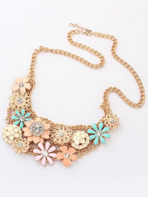 Korean version Sweet Fresh Flowers Metallic Necklace
