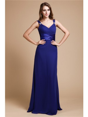 Sheath/Column Ruffles V-neck Floor-Length Sleeveless Chiffon Bridesmaid Dresses