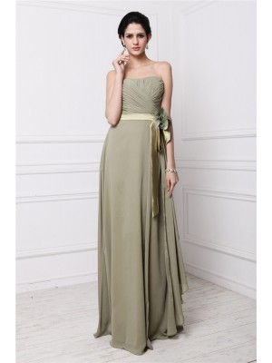 Sheath/Column Pleats Hand-Made Flower Strapless Floor-Length Sleeveless Chiffon Bridesmaid Dresses