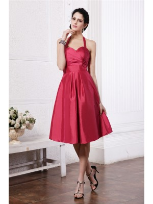 A-Line/Princess Pleats Halter Knee-Length Sleeveless Taffeta Bridesmaid Dresses