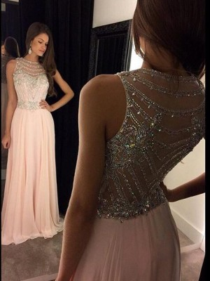A-Line/Princess Chiffon Scoop Sleeveless Floor-Length Crystal Dresses