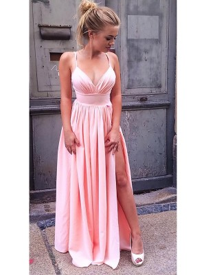 A-Line/Princess Chiffon Ruched Floor-Length Sleeveless Straps Dresses