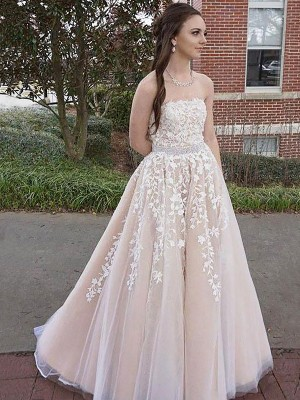 A-Line/Princess Tulle Applique Floor-Length Sleeveless Strapless Dresses