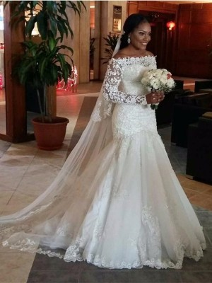 Trumpet/Mermaid Off-the-Shoulder Long Sleeves Lace Sweep/Brush Train Tulle Wedding Dresses
