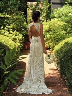Sheath/Column Sleeveless Lace V-neck Sweep/Brush Train Wedding Dresses