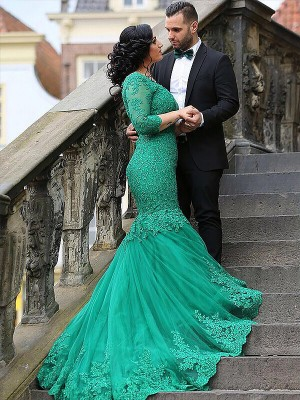 Trumpet/Mermaid V-neck Tulle 3/4 Sleeves Sweep/Brush Train Plus Size Dress With Applique