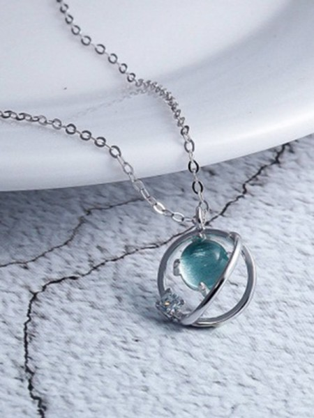 Korean 925 Sterling Silver Charming Necklaces With Crystal