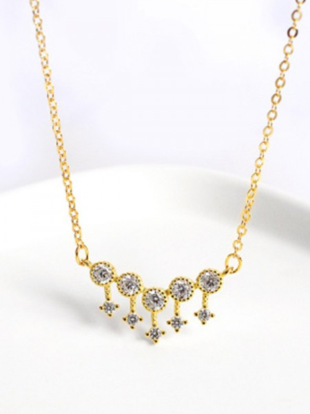 Ladies's Necklaces With Rhinestone Gorgeous S925 Silver