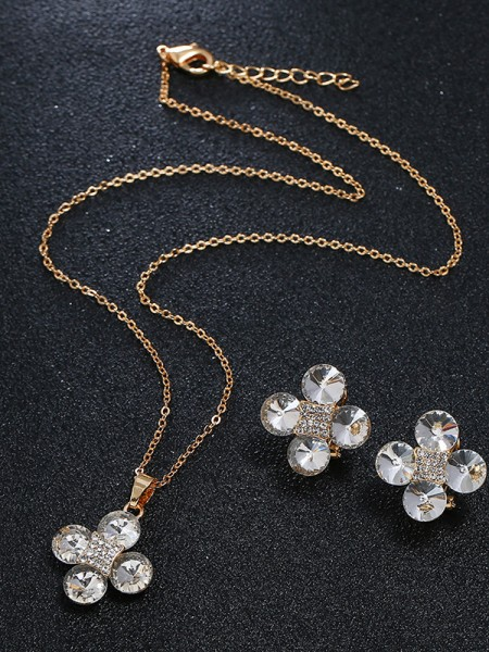 Wedding Bridal Jewelry Set Charming Rhinestone With Flowers
