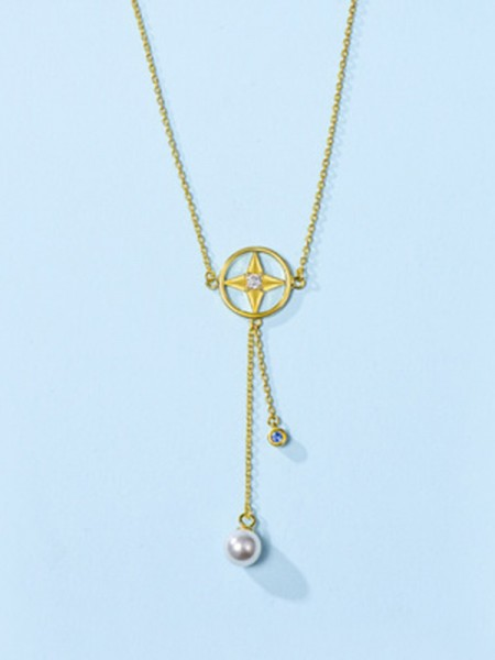 925 Sterling Silver With Pearl Fancy Womens Necklaces