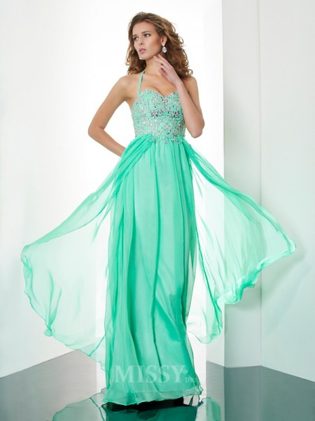 A-Line Halter Floor-Length Chiffon Evening Dress With Beading