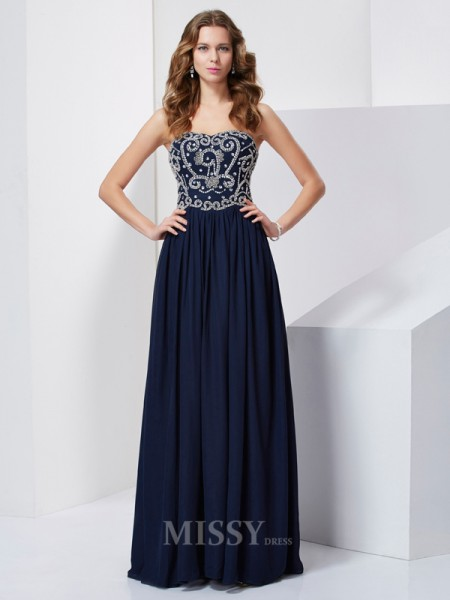 A-Line Floor-Length Strapless Chiffon Evening Dress With Applique