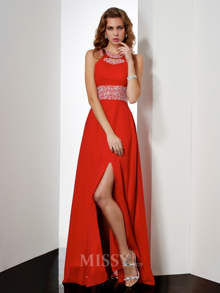 Empire Jewel Floor-length Evening Dress With Ruched
