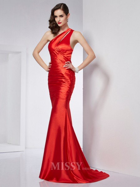 Sheath One-Shoulder Sweep Train Elastic Woven Satin Evening Dress With Embroidery