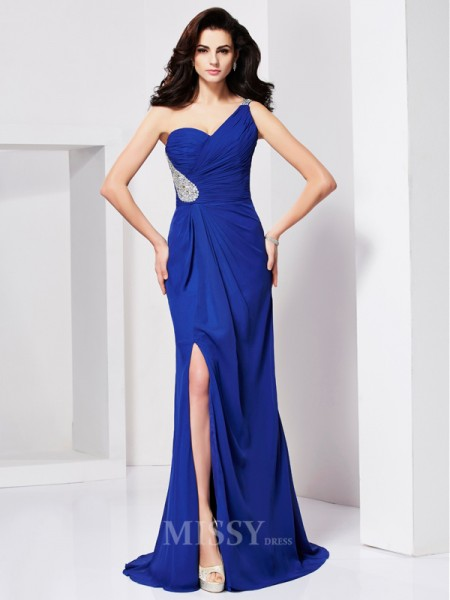 A-Line One-shoulder Sweep Train Evening Dress With Pleats