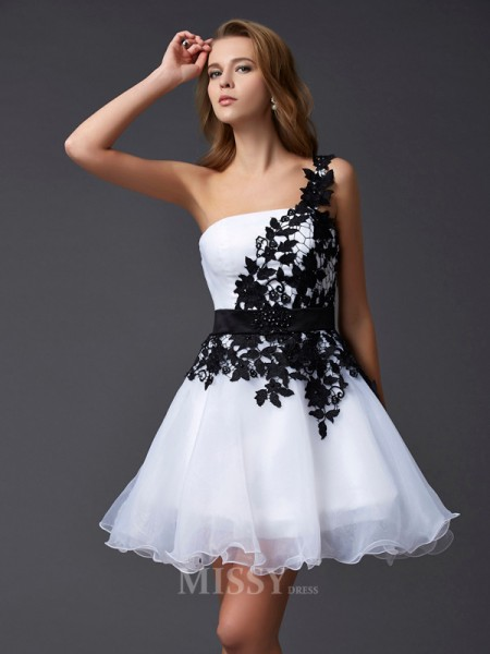 A-Line One-Shoulder Mini Organza Evening Dress With Beading