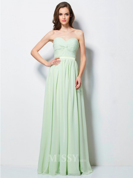 A-Line Sweetheart Floor-length Chiffon Evening Dress With Ruffles