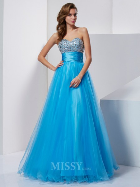 A-Line/Princess Sleeveless Beading Floor-Length Tulle Sweetheart Dresses
