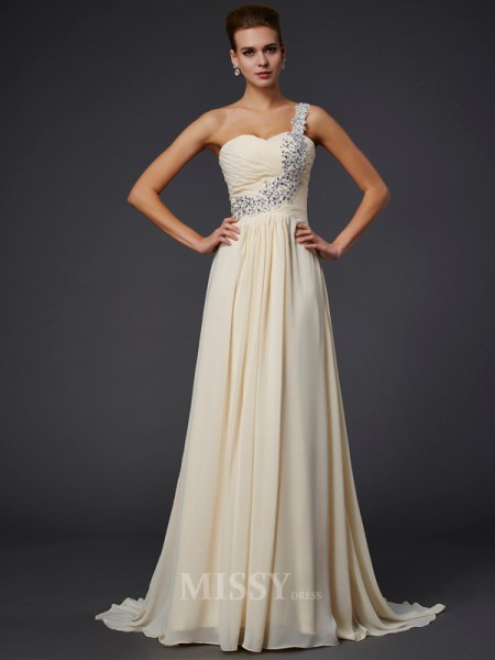 A-Line One-Shoulder Floor-Length Chiffon Evening Dress With Applique