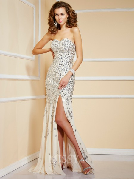 Sheath Sweetheart Sweep Train Chiffon Evening Dress With Beading