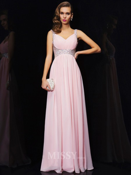 A-Line Chiffon Straps V-neck Floor-Length Evening Dress With Beading
