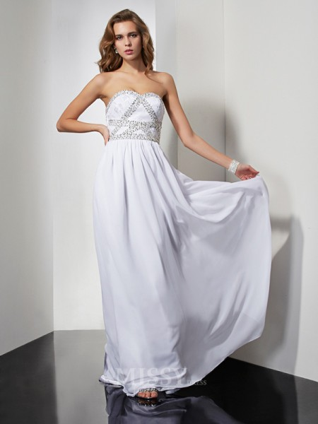 Sheath Strapless Floor-Length Chiffon Evening Dress With Ruched