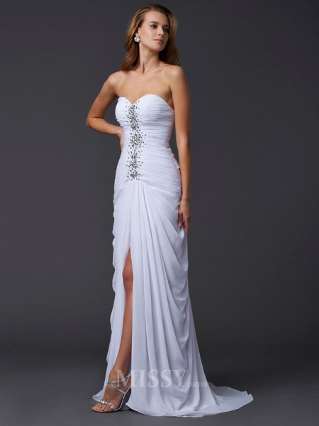 Sheath Strapless Chiffon Sweep Train Evening Dress With Pleats