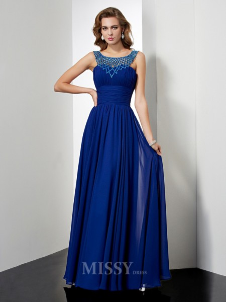 Empire High Neck Floor-length Chiffon Evening Dress With Sash