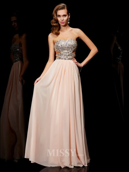 A-Line Sweetheart Floor-Length Chiffon Evening Dress With Rhinestone