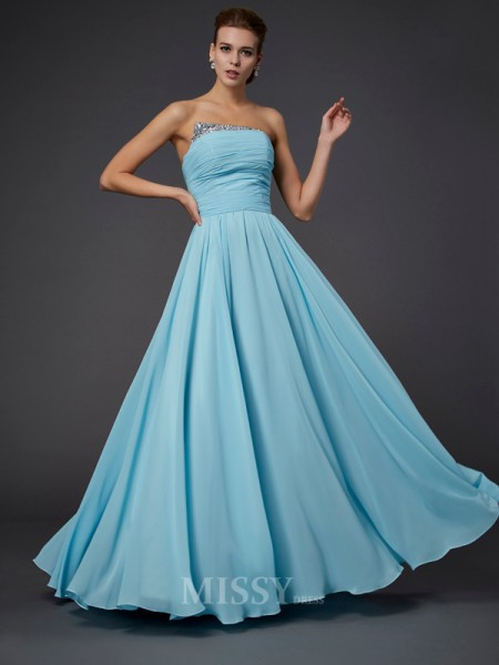 Sheath Strapless Floor-Length Chiffon Evening Dress With Embroidery