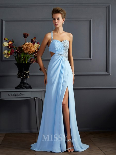 Sheath One-Shoulder Floor-length Chiffon Evening Dress With Beading