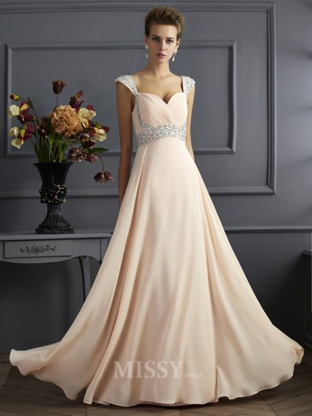 A-Line Straps Chiffon Floor-Length Evening Dress With Beading