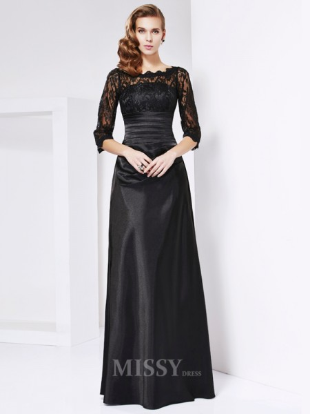 A-Line 3/4 Sleeves Off-the-shoulder Elastic Woven Satin Evening Dress With Beading