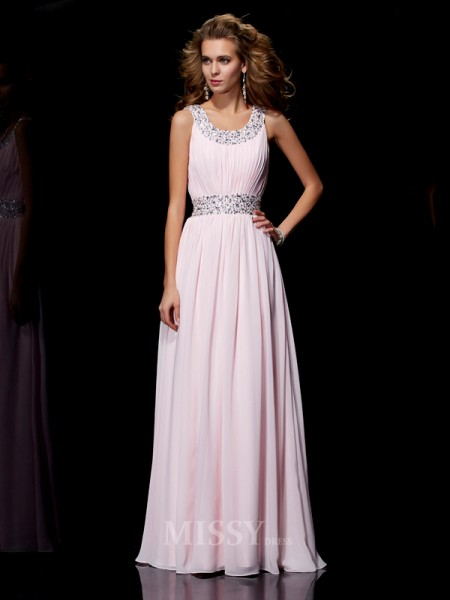 A-Line Scoop Floor-Length Chiffon Evening Dress With Ruched