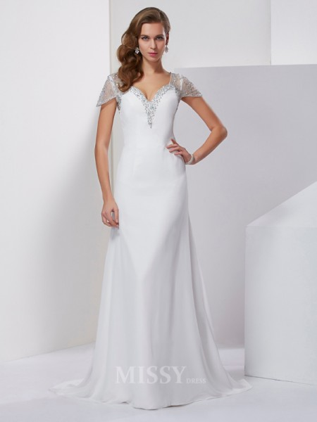 A-Line Sweetheart Short Sleeves Chiffon Sweep Train Evening Dress With Lace