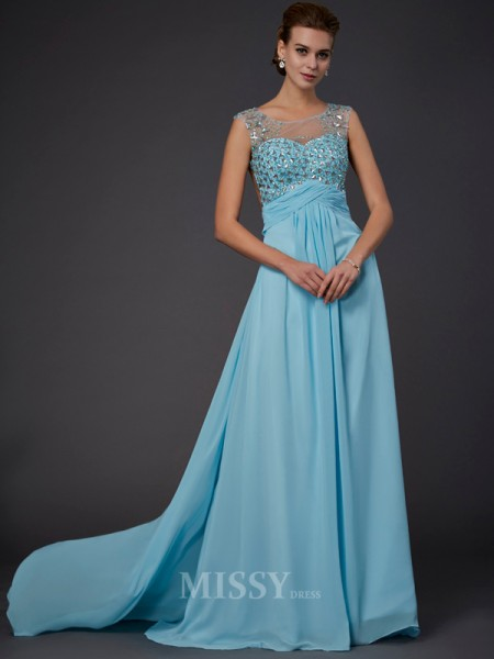 A-Line Scoop Sweep Train Chiffon Evening Dress With Sequin