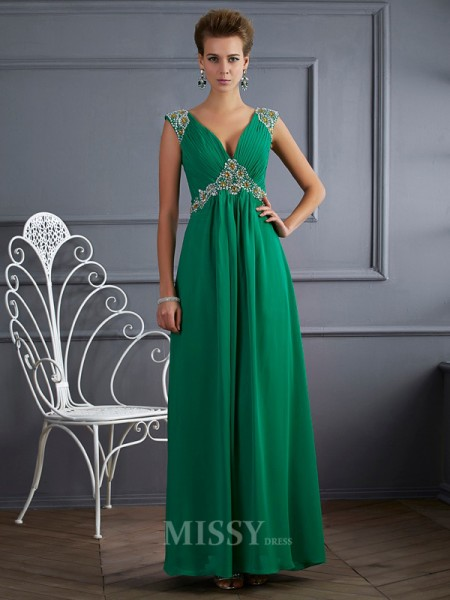 A-Line V-neck Short Sleeves Chiffon Ankle-Length Evening Dress With Ruffles