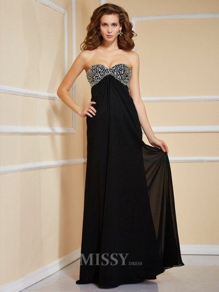 Sheath Sweetheart Floor-Length Chiffon Evening Dress With Rhinestone