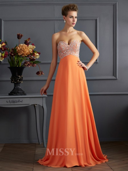 A-Line Sweetheart Chiffon Floor-length Evening Dress With Rhinestone